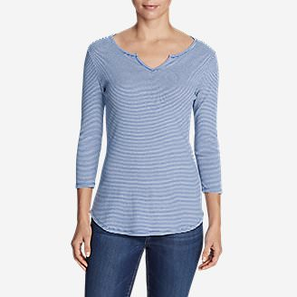 Women's Favorite Notched Neck 3/4-Sleeve Top - Stripe in Purple
