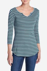Women's Favorite Notched Neck 3/4-Sleeve Top - Stripe in Blue