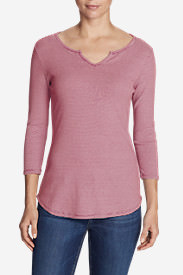 Women's Favorite Notched Neck 3/4-Sleeve Top - Stripe in Red