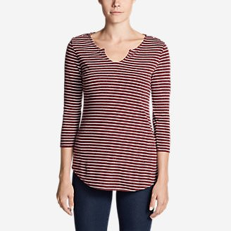 Women's Favorite Notched Neck 3/4-Sleeve Top - Stripe in Orange