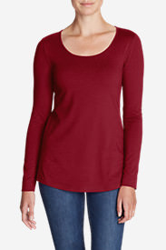 Women's Layerific Long-Sleeve Scoop-Neck T-Shirt in Red