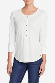 Women's Pleated Henley Top in White