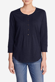 Women's Pleated Henley Top in Blue