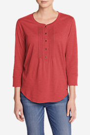 Women's Pleated Henley Top in Red