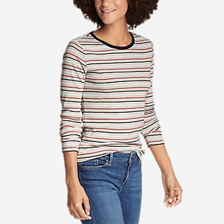 Women's Favorite Long-Sleeve Crew T-Shirt - Stripe in Gray