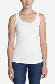 Women's Tissue Long Layering Tank - Solid in White