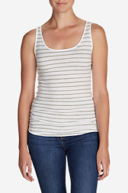 Pima Long Tank Top - Stripe in Gray