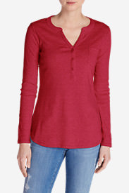 Women's Favorite Long-Sleeve Henley in Red