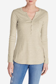 Women's Favorite Long-Sleeve Henley in Beige