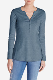 Women's Favorite Long-Sleeve Henley in Blue