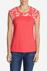 Women's Daybreak Embroidered Top in Red