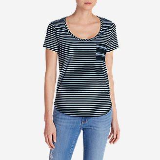 Women's Gypsum Pocket T-Shirt - Mini Stripe in Blue