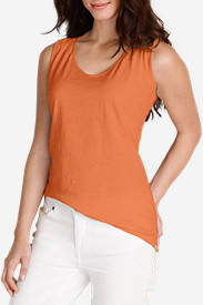 Women's Embroidered Tank Top in Orange