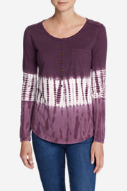 Women's Gypsum Long-Sleeve Henley Shirt - Tie Dye in Red