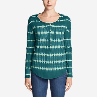 Women's Gypsum Long-Sleeve Henley Shirt - Tie Dye in Green