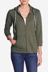 Women's Slub Full-Zip Hoodie in Green