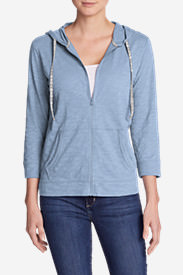 Women's Slub Full-Zip Hoodie in Blue