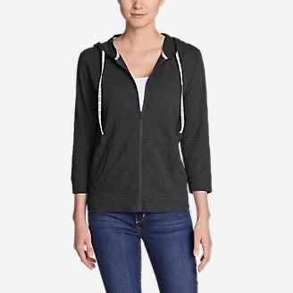 Women's Slub Full-Zip Hoodie in Gray