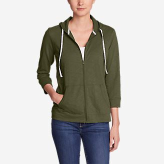 Women's Slub Full-Zip Hoodie in Green