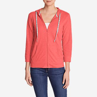Women's Slub Full-Zip Hoodie in Red