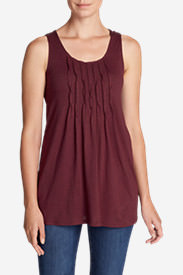 Women's Pintuck Tunic Tank Top in Red