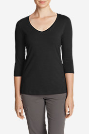 Women's Lookout 3/4-Sleeve V-Neck T-Shirt - Solid in Black