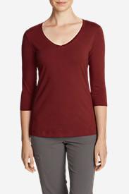 Women's Lookout 3/4-Sleeve V-Neck T-Shirt - Solid in Orange