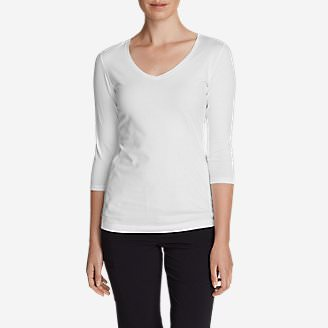 Women's Lookout 3/4-Sleeve V-Neck T-Shirt - Solid in White