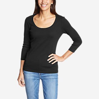 Women's Favorite 3/4-Sleeve Scoop-Neck T-Shirt in Black