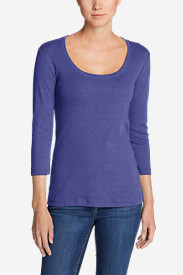 Women's Favorite 3/4-Sleeve Scoop-Neck T-Shirt in Purple