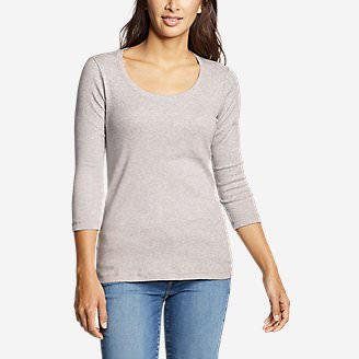 Women's Favorite 3/4-Sleeve Scoop-Neck T-Shirt in Gray
