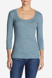 Women's Favorite 3/4-Sleeve Scoop-Neck T-Shirt in Blue