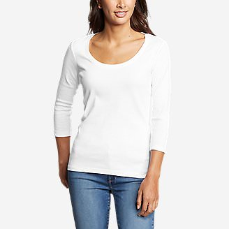 Women's Favorite 3/4-Sleeve Scoop-Neck T-Shirt in White