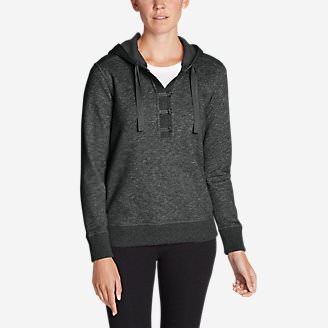 Women's Brushed Fleece Hooded Pullover in Gray