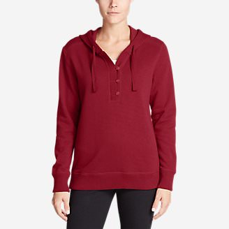 Women's Brushed Fleece Hooded Pullover in Red