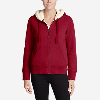 Women's Cabin Fleece Sherpa Hoodie in Red