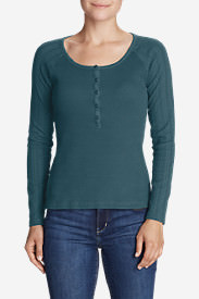 Women's Lookout Long-Sleeve Thermal Henley Shirt in Blue