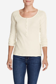 Women's Lookout Long-Sleeve Thermal Henley Shirt in White