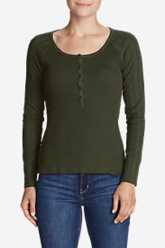 Women's Lookout Long-Sleeve Thermal Henley Shirt in Green