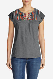 Women's Laurel Canyon Embroidered T-Shirt in Gray