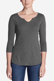 Women's Favorites Notch-Neck 3/4-Sleeve Top in Gray