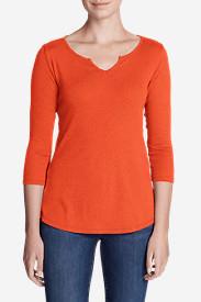 Women's Favorites Notch-Neck 3/4-Sleeve Top in Orange
