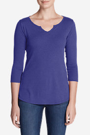 Women's Favorites Notch-Neck 3/4-Sleeve Top in Purple
