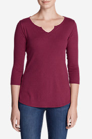 Women's Favorites Notch-Neck 3/4-Sleeve Top in Red
