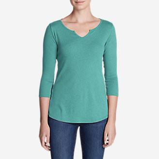 Women's Favorites Notch-Neck 3/4-Sleeve Top in Green