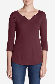 Women's Favorites Notch-Neck 3/4-Sleeve Top in Orange