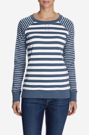 Women's Legend Wash Stripe Blend Crew Sweatshirt in Blue