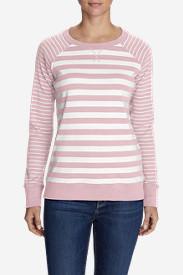 Women's Legend Wash Stripe Blend Crew Sweatshirt in Pink
