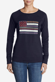Women's Legend Wash Crewneck Sweatshirt - Flag in Blue