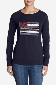 Women's Legend Wash Crewneck Sweatshirt - Flag in Blue